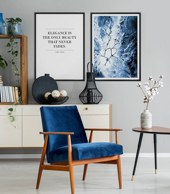 Poster-Set inkl. Bilderrahmen Blaue Eleganz
