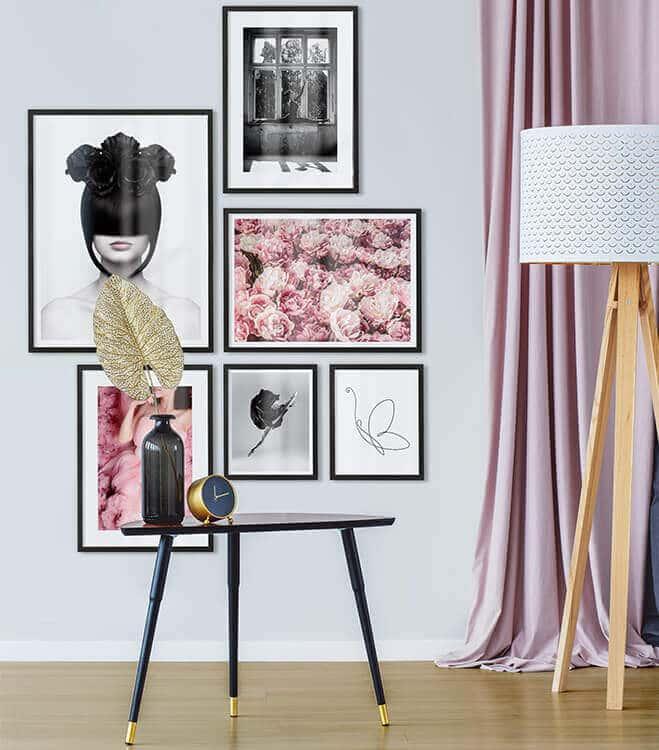 Poster-Set mit Bilderrahmen Feminim (6er Set)