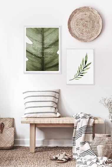 Poster-Set mit Bilderrahmen Grüne Natur