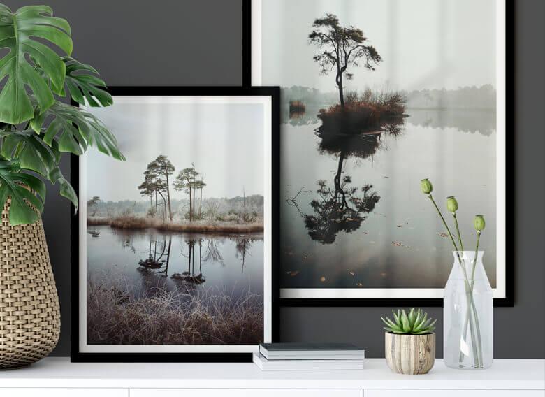 Poster-Set mit Bilderrahmen Herbstidylle