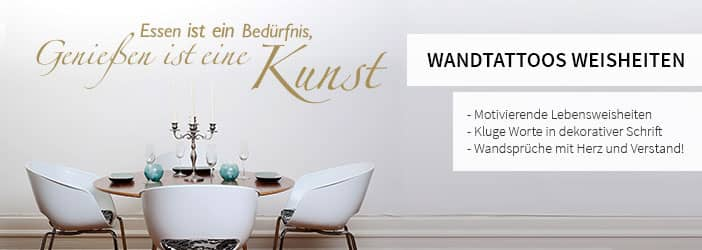wandspr che lebensweisheiten wandtattoos wall art dekoshop wall. Black Bedroom Furniture Sets. Home Design Ideas