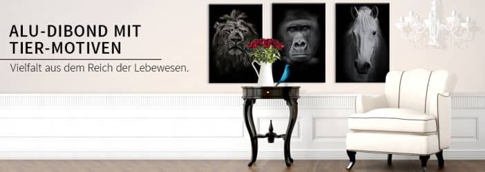 alu dibond silbereffekt bilder tiere wandbilder im wall art shop wall. Black Bedroom Furniture Sets. Home Design Ideas