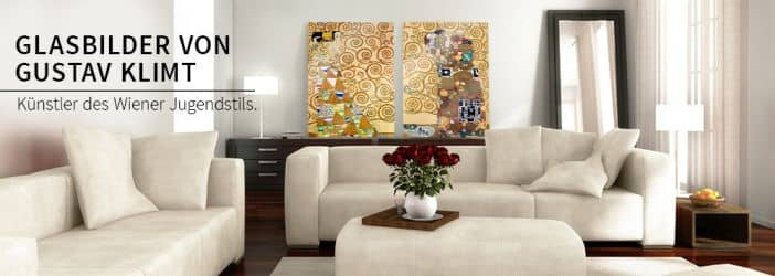 glasbilder mit klimt kunstdrucken wall. Black Bedroom Furniture Sets. Home Design Ideas