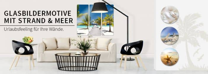 glasbilder mit strand meer wall. Black Bedroom Furniture Sets. Home Design Ideas