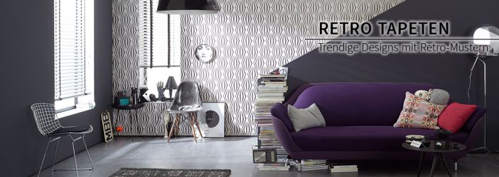 hochwertige tapeten im retro design wall. Black Bedroom Furniture Sets. Home Design Ideas