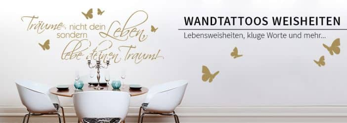 wandspr che lebensweisheiten wandtattoos wall art. Black Bedroom Furniture Sets. Home Design Ideas