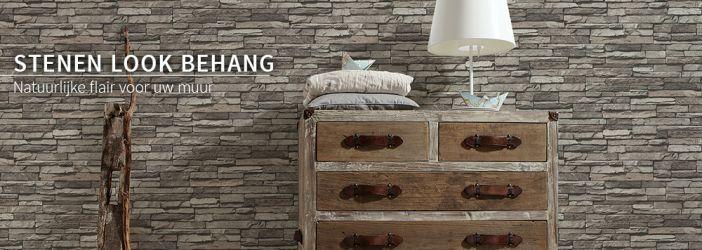 Behang Stenen Muur Wit : Behang patroonbehang stenen look behang shop ...