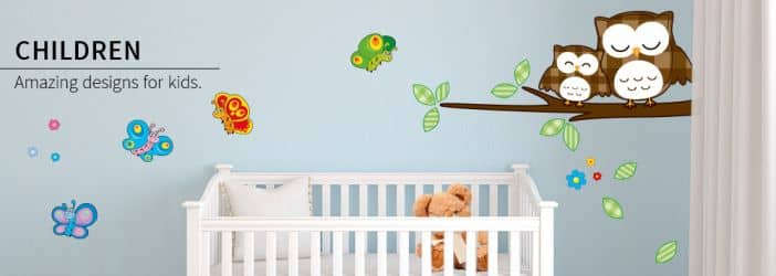 Selection of wall stickers for kids.