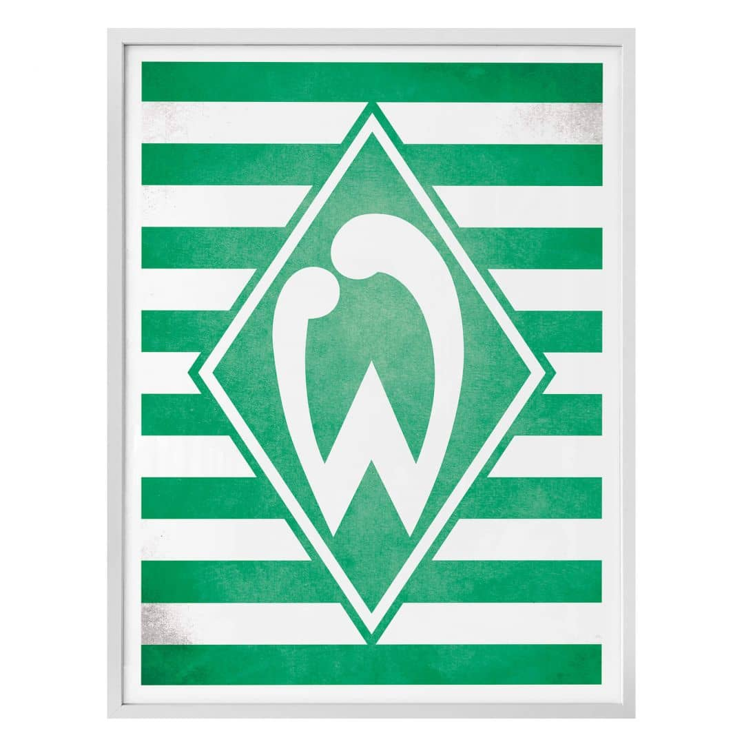 poster werder bremen logo mit streifen wall. Black Bedroom Furniture Sets. Home Design Ideas