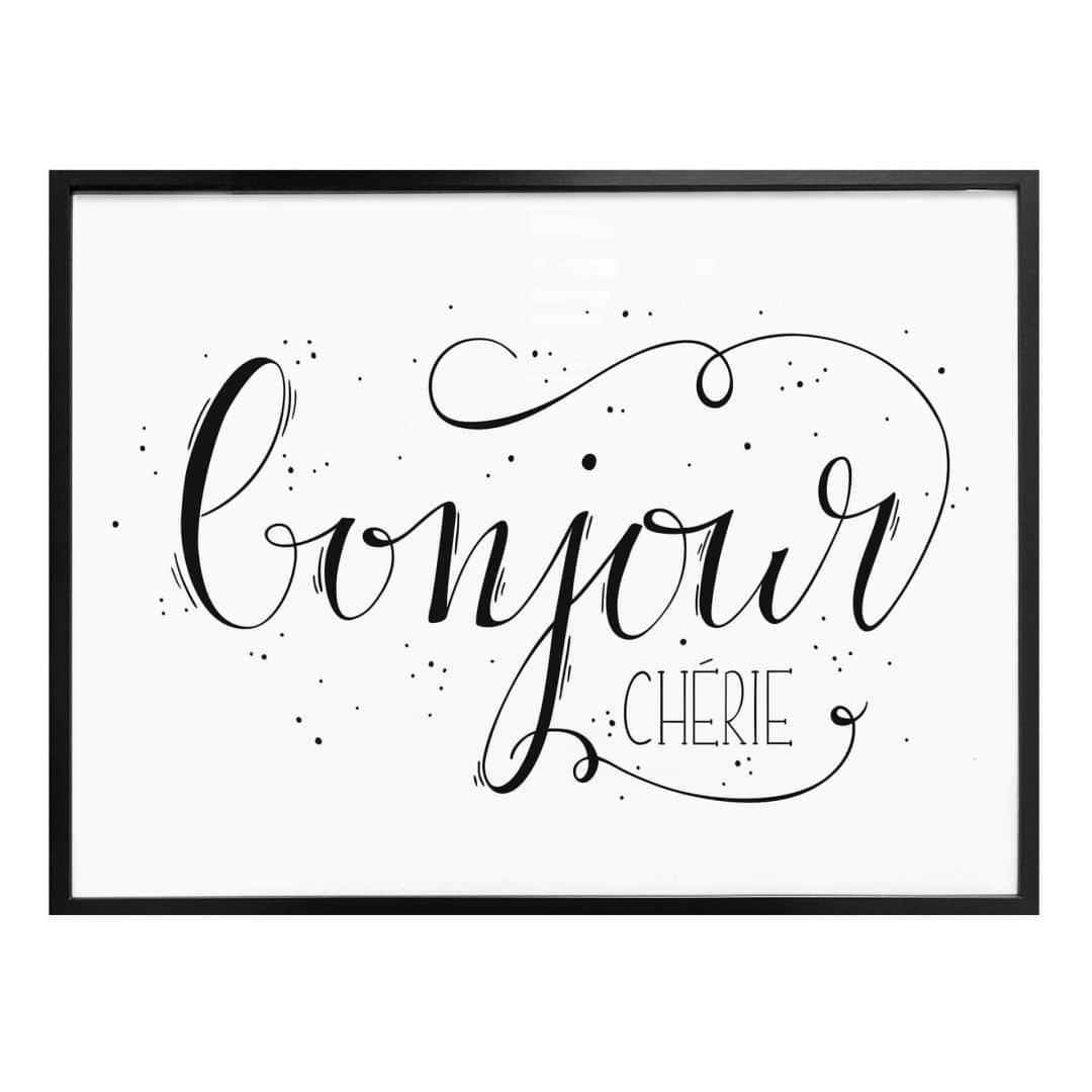 Poster Bonjour Cherie - wit