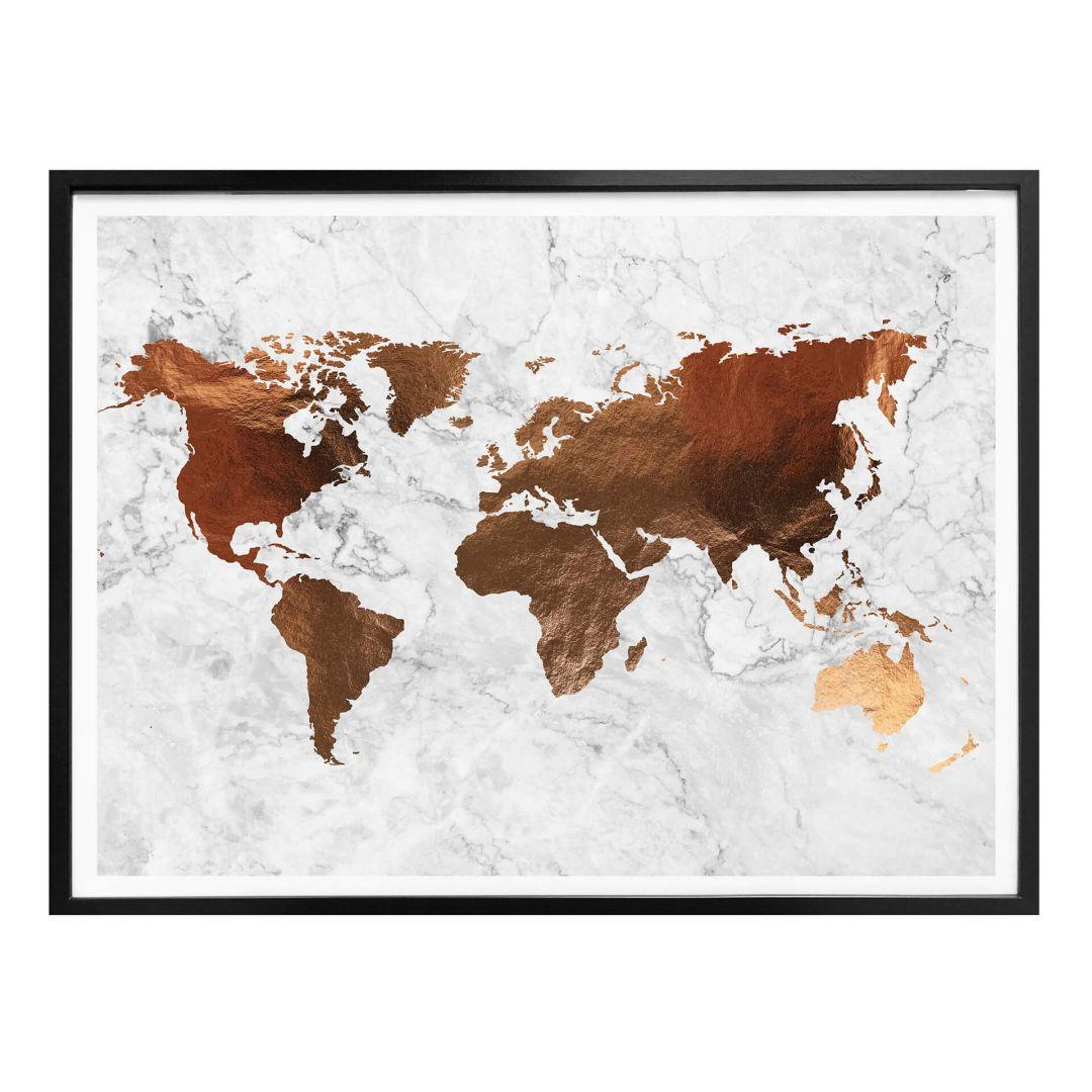 Poster Koper - Wereldkaart