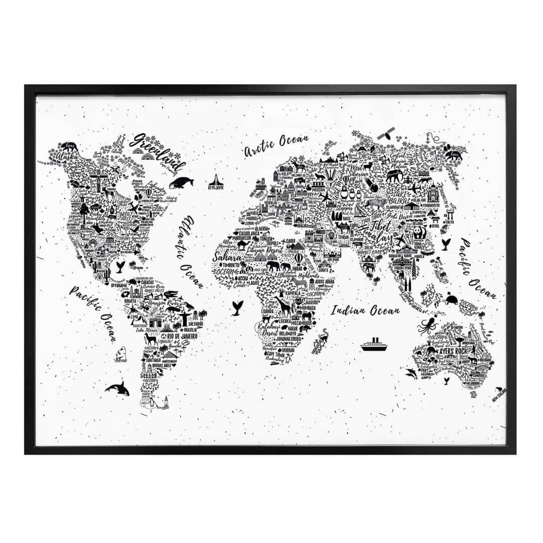 Poster Wereldkaart – Around the World