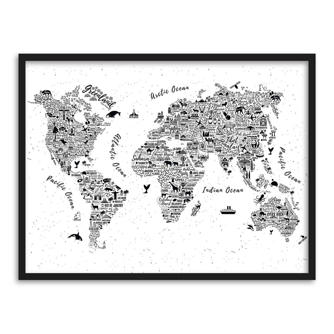 premiumposter im bilderrahmen weltkarte around the world wall. Black Bedroom Furniture Sets. Home Design Ideas