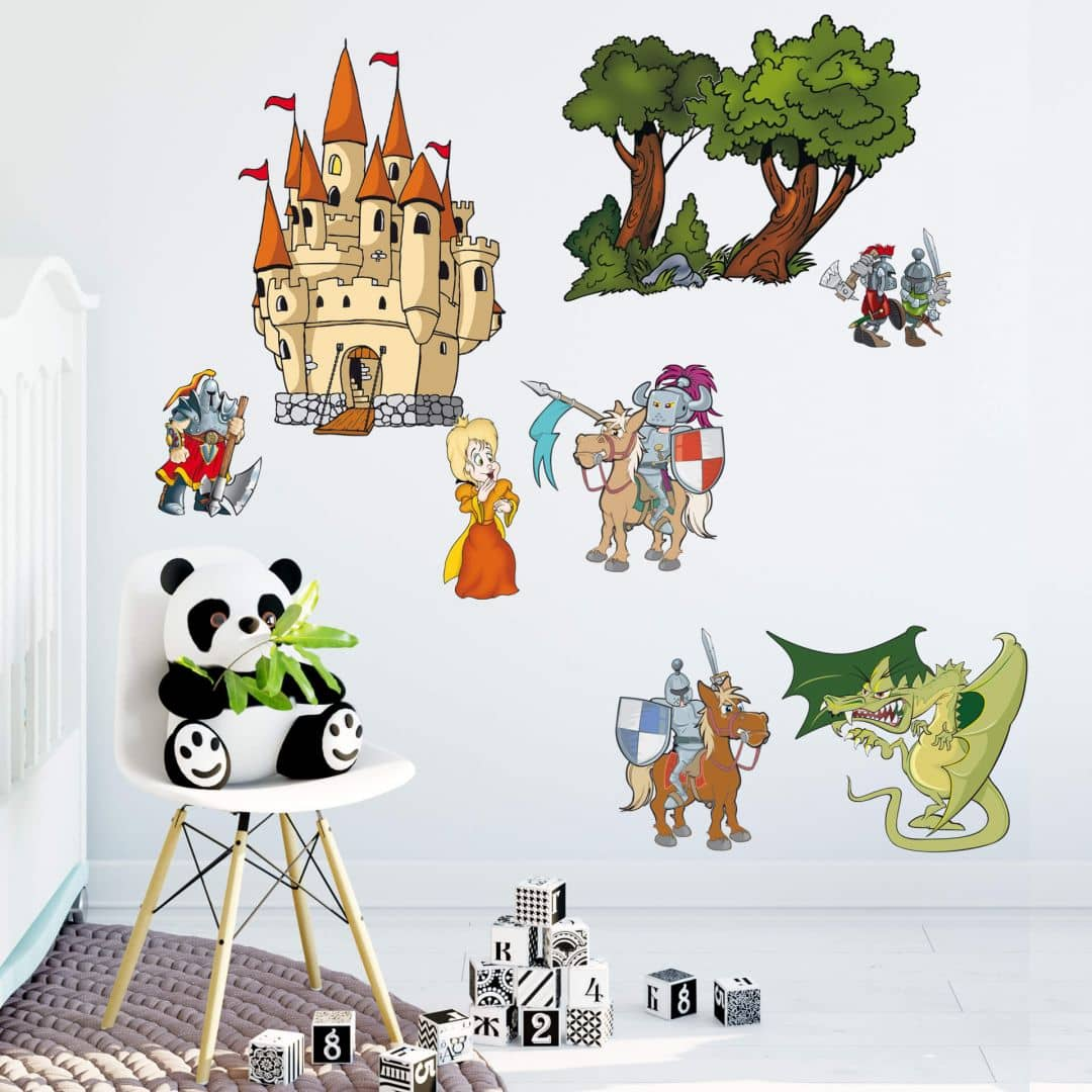 wandtattoo ritter set ritter und burg f r kinderzimmer wall. Black Bedroom Furniture Sets. Home Design Ideas