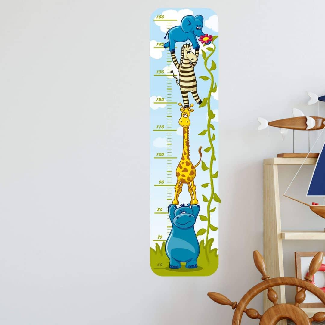 Wandtattoo Messlatte Tiere Deko für Kinderzimmer