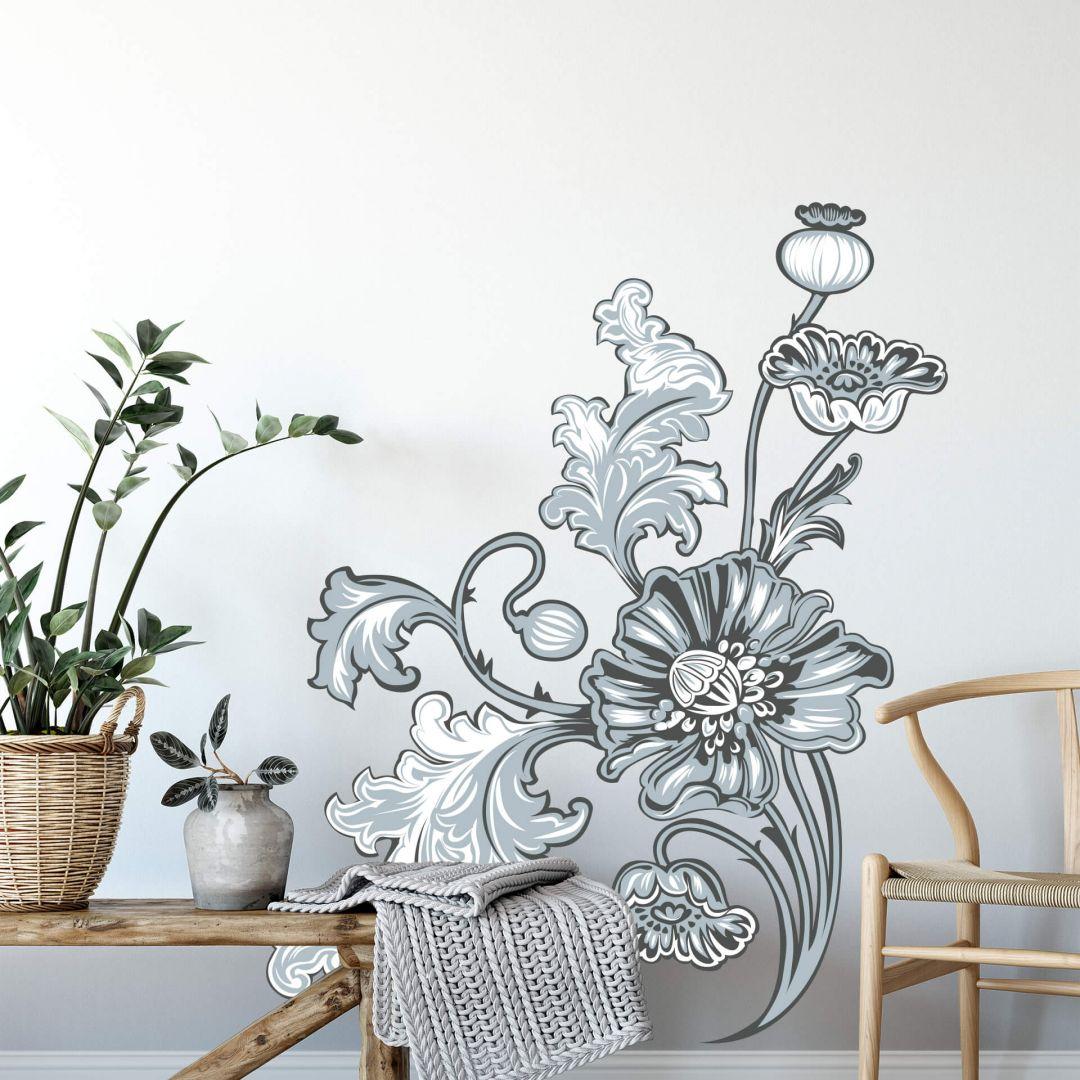 Wandtattoo Blumenranke 2 grau