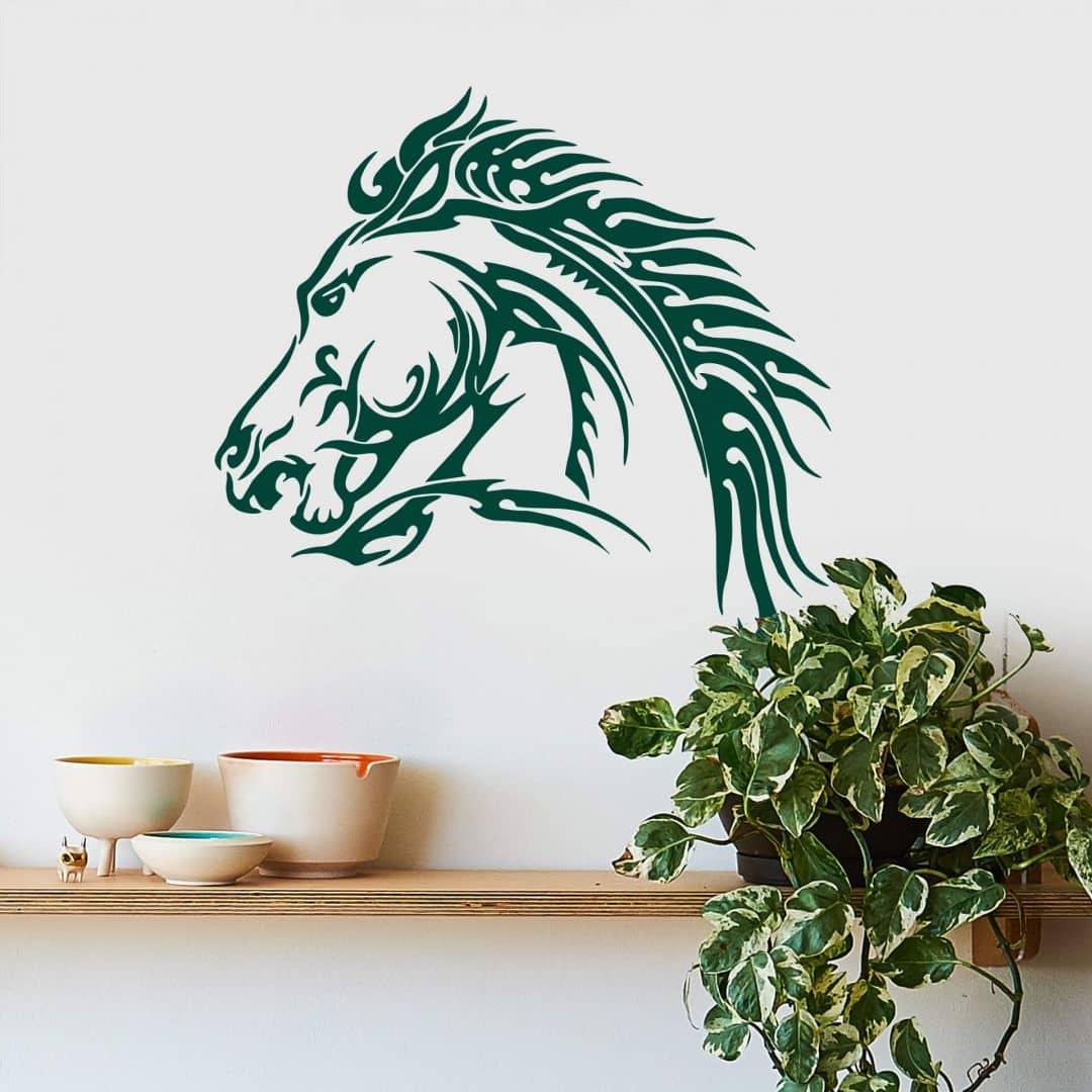 pferdekopf zum aufkleben wandtattoo pferd wall. Black Bedroom Furniture Sets. Home Design Ideas