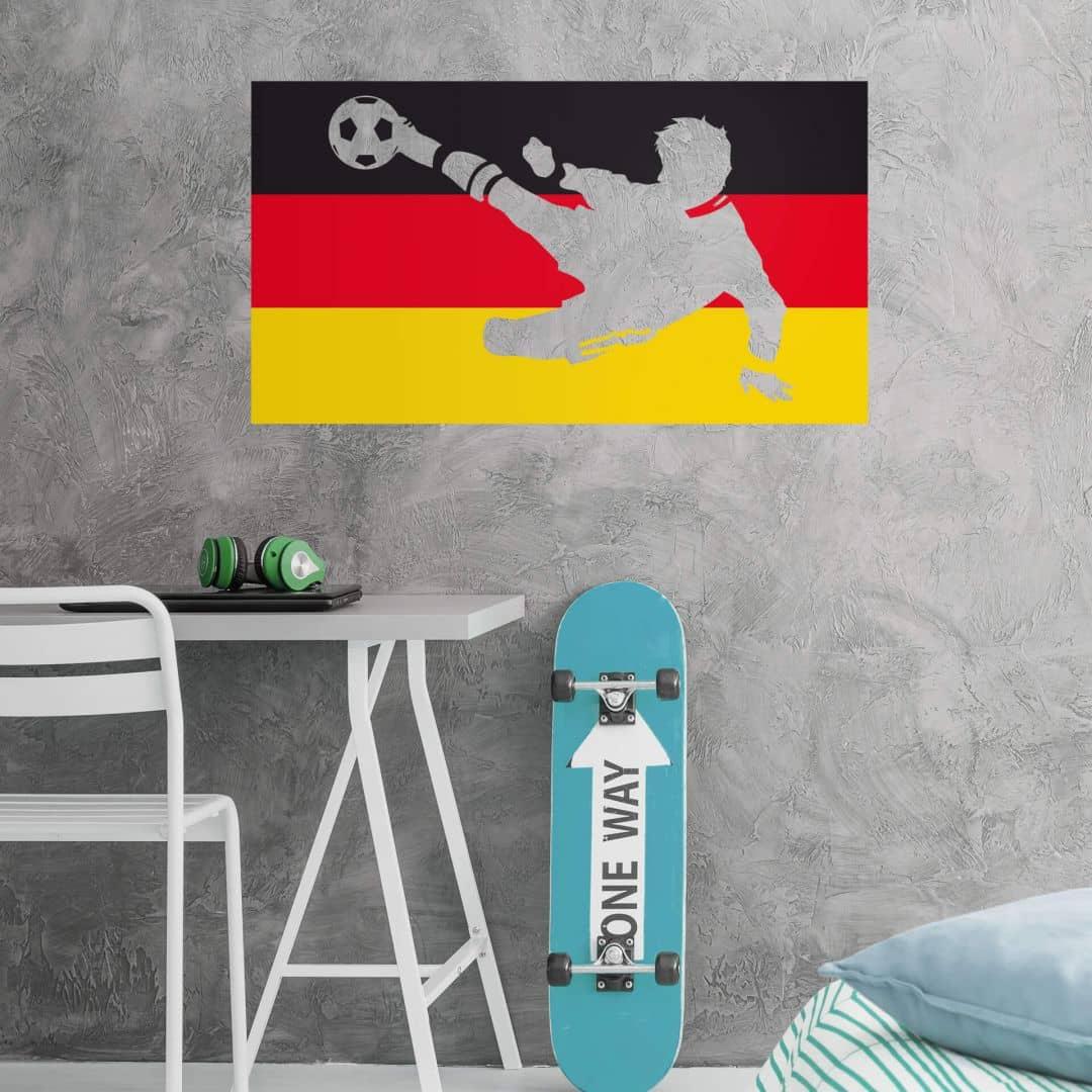 Wandtattoo Deutschland-Fahne mit Fußballer