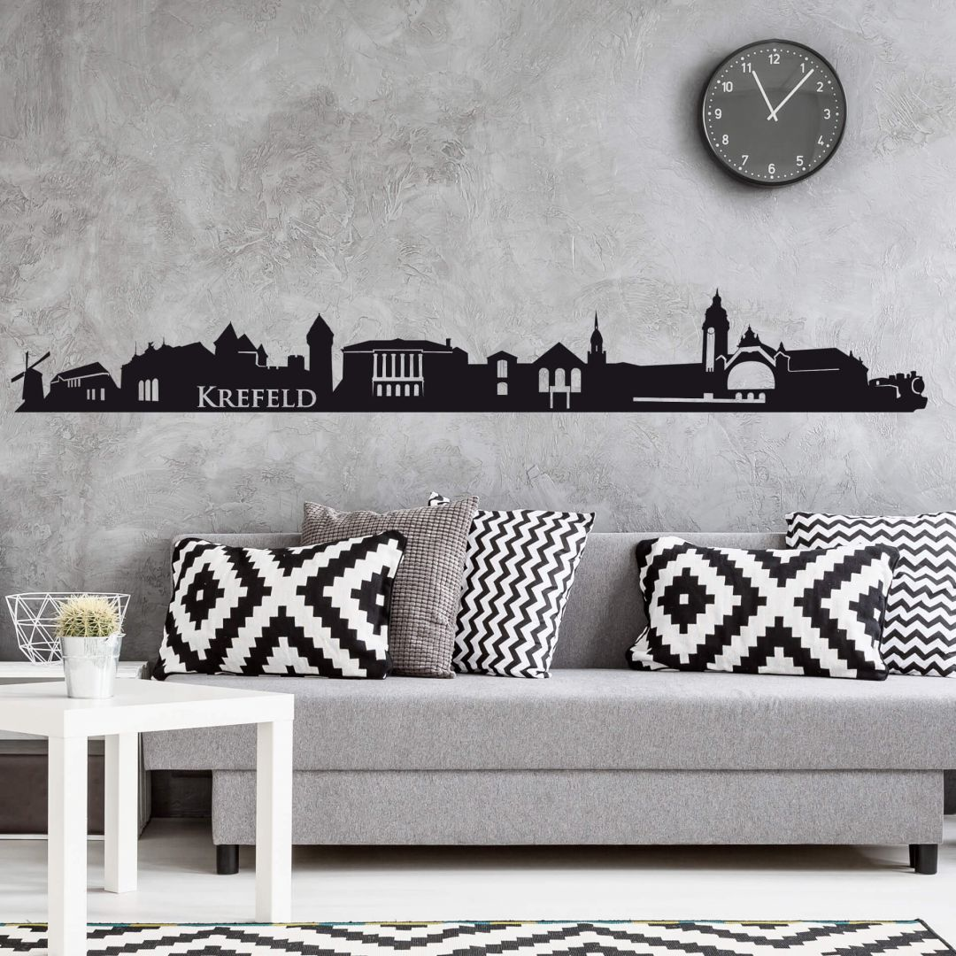 wandtattoo krefeld skyline krefeld als wandsticker wall. Black Bedroom Furniture Sets. Home Design Ideas
