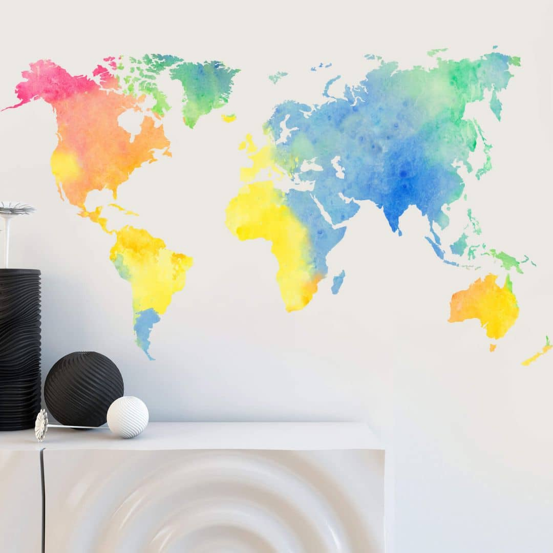 Water Colour World Map Wall sticker