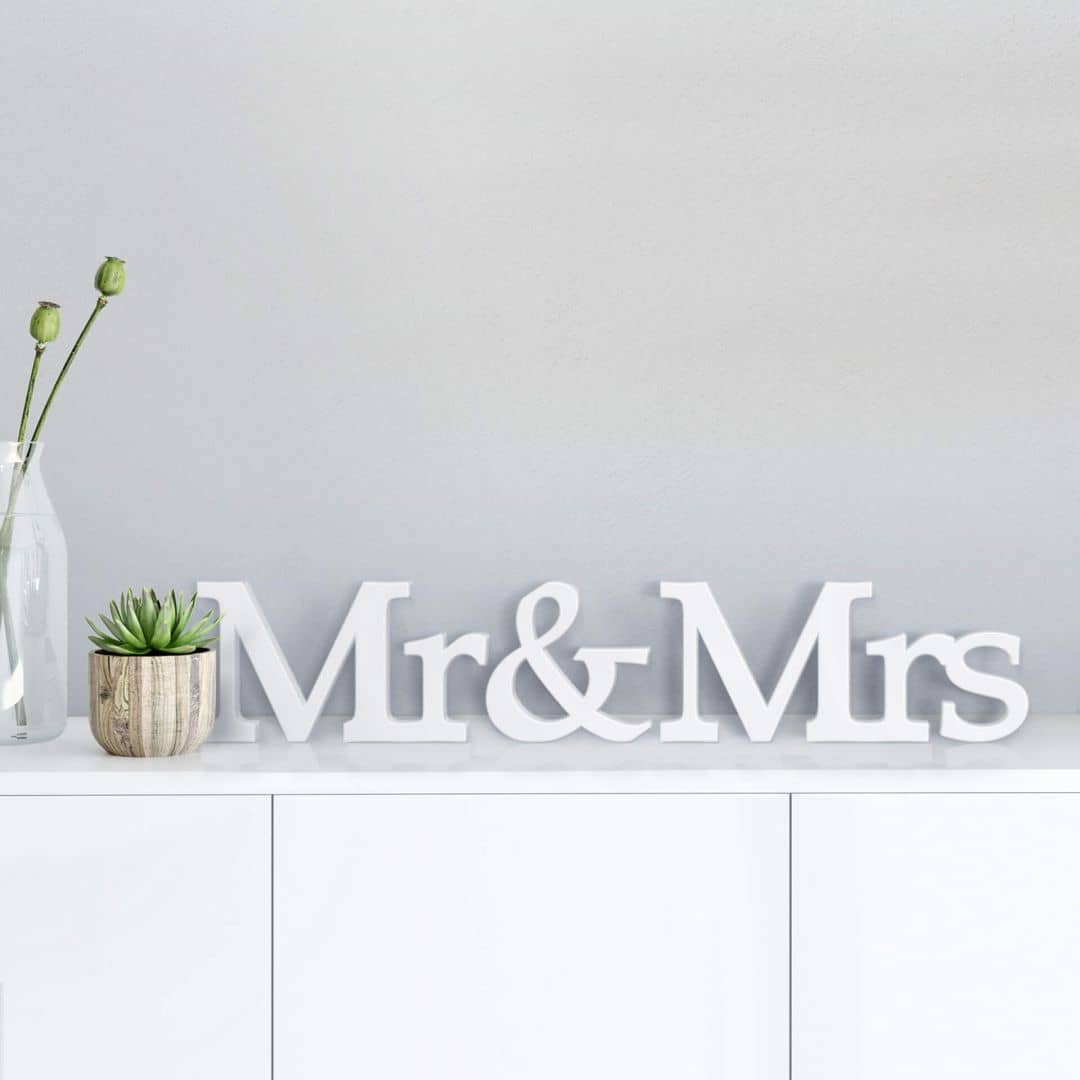 Decoratieletters   3D Mr & Mrs -Serif