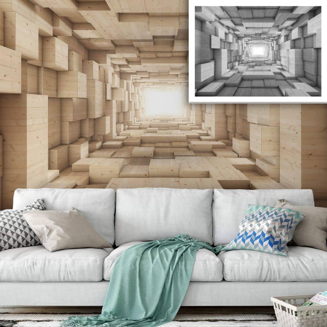 3D Fototapete Holz - Tunnel