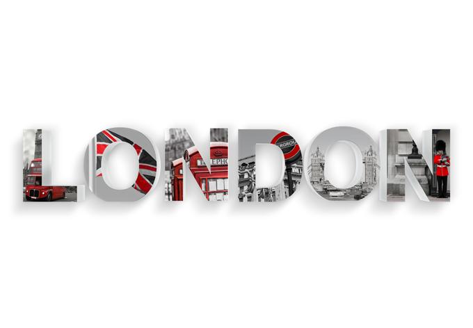 3D LONDON printed 3D letter