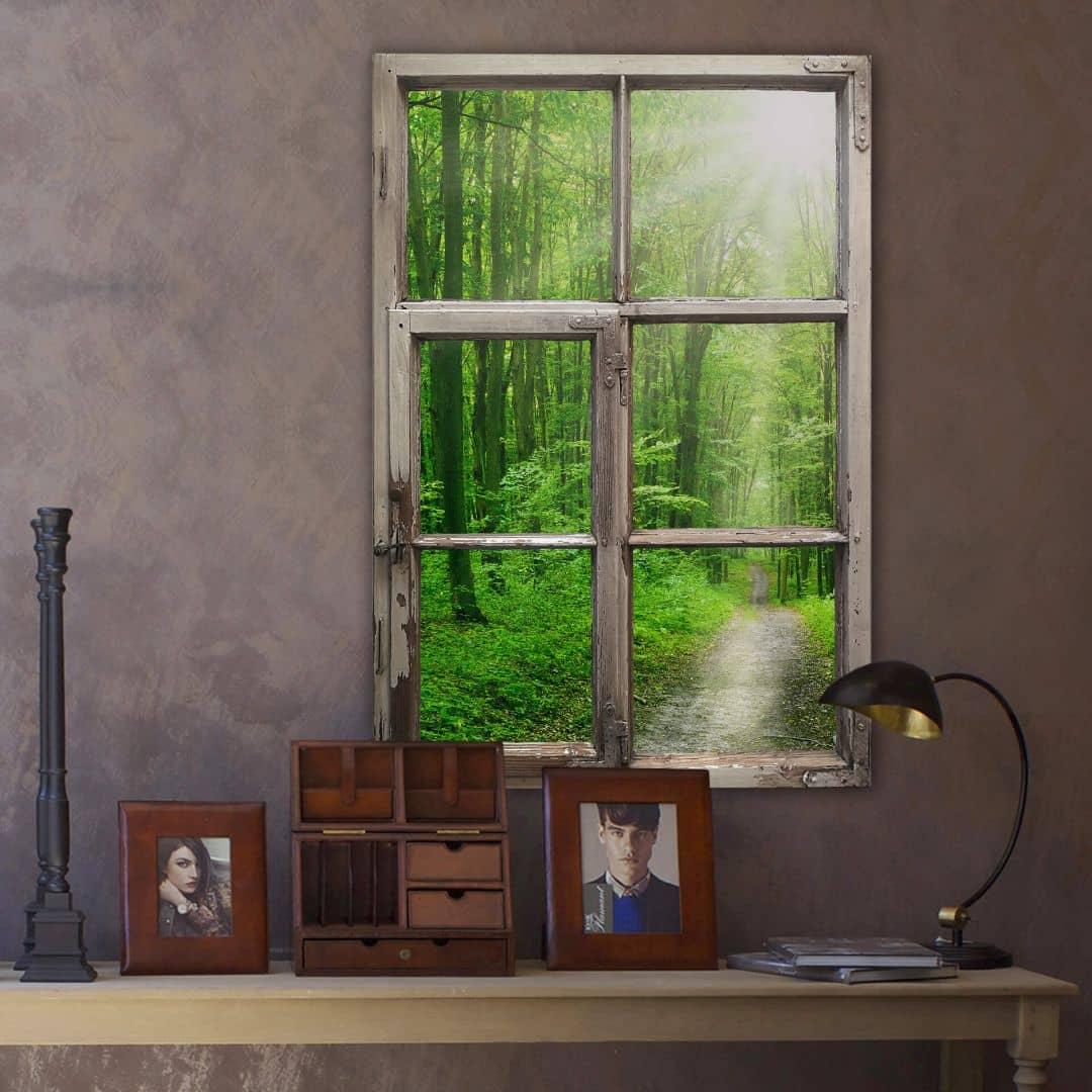 Trompe L'oeil Muursticker - Sunny Forest