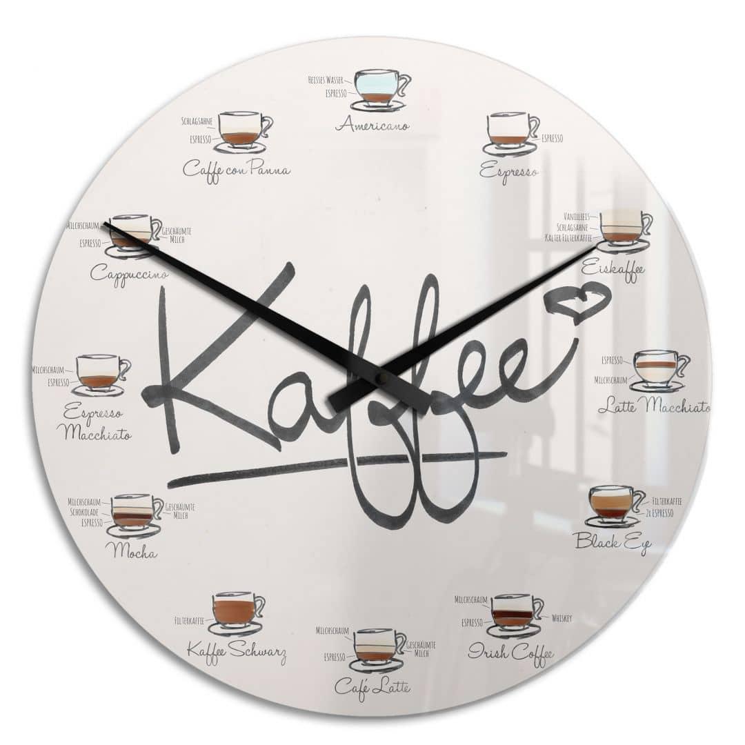 Wanduhr Kaffeesorten