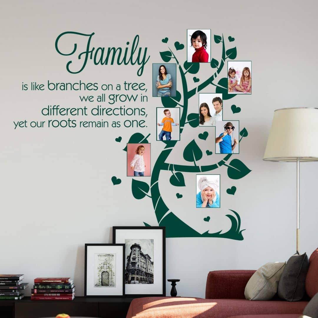 Adesivo murale - Family is like branches... con spazio per foto