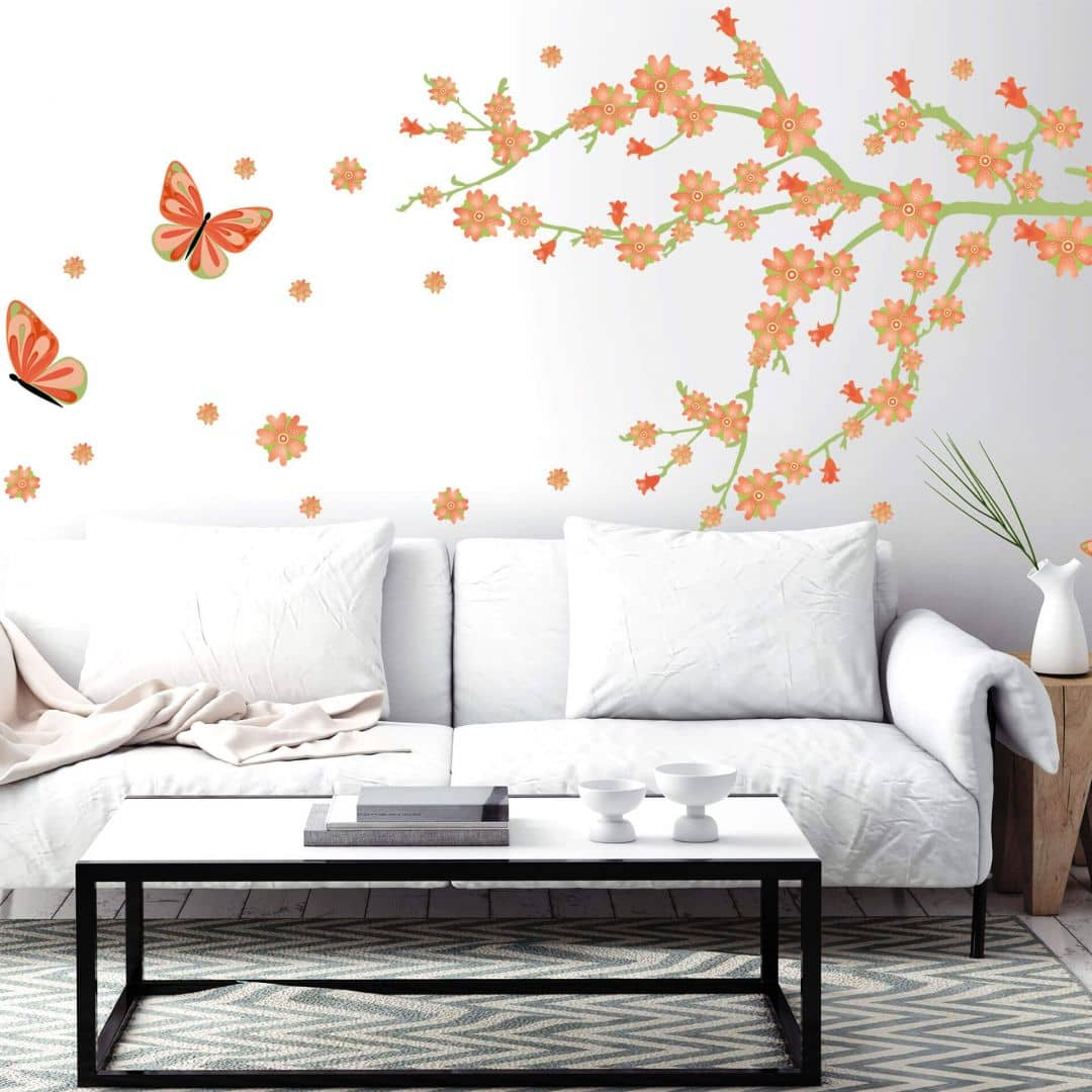 Wandtattoo Frühlingsblüten mit Schmetterlingen