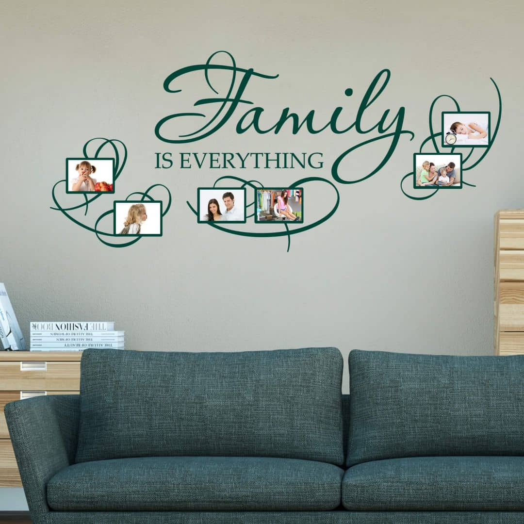 wandtattoo family is everything mit platz f r fotos wall. Black Bedroom Furniture Sets. Home Design Ideas