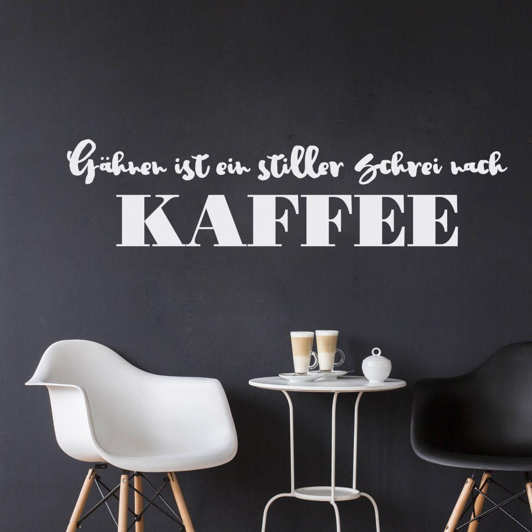 Wandtattoo Gähnen ist ein stiller Schrei nach Kaffee 01