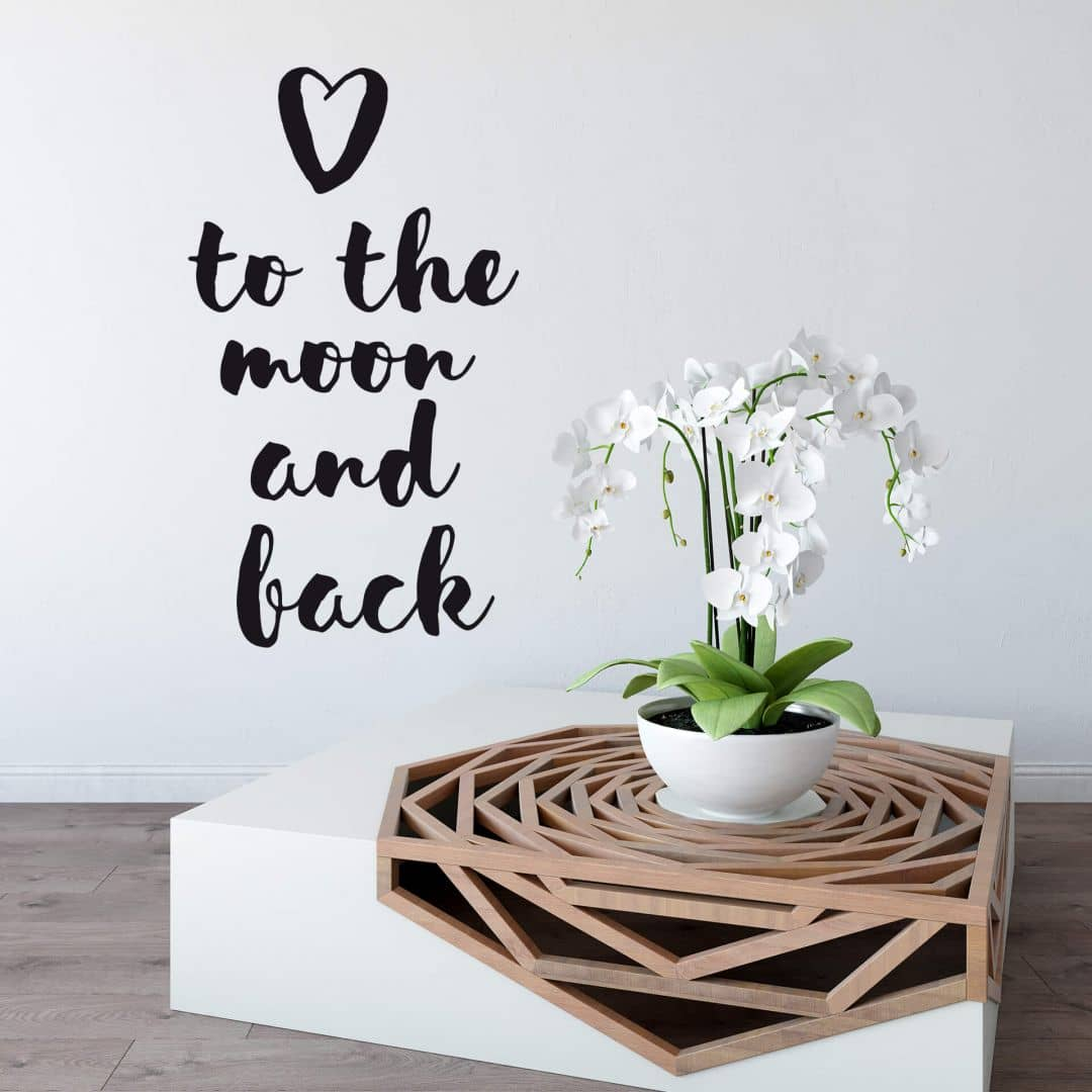 wandtattoo love to the moon and back wall. Black Bedroom Furniture Sets. Home Design Ideas