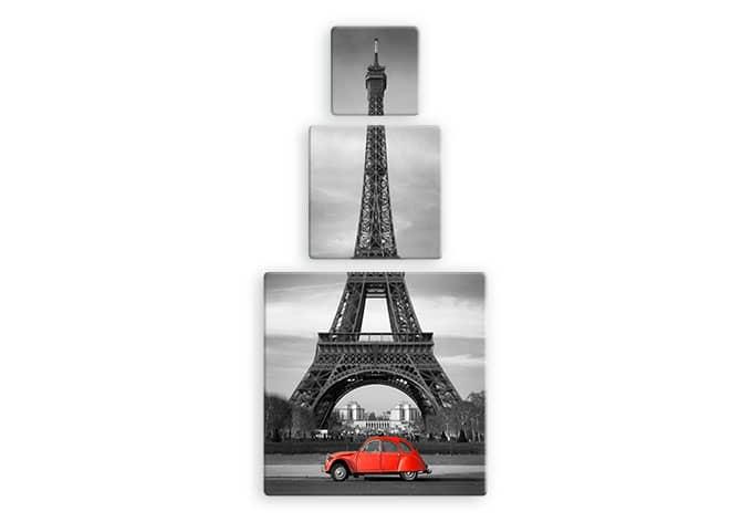 Glasbild Eiffelturm 2 (3-teilig)