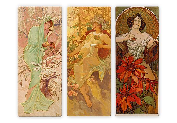 Glasschilderijen Mucha 3-delig