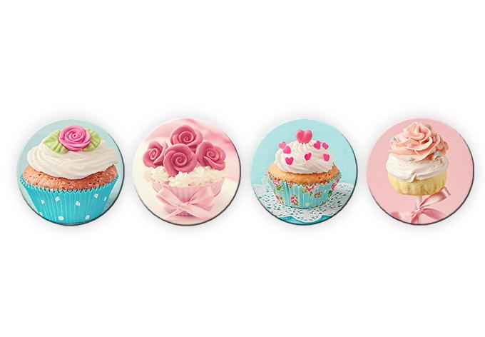 Glasbild Cupcakes Set rund (4-teilig)