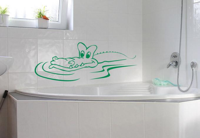 Wandtattoo krokodil ein wandtattoo f r das bad wall - Krokodil wandtattoo ...