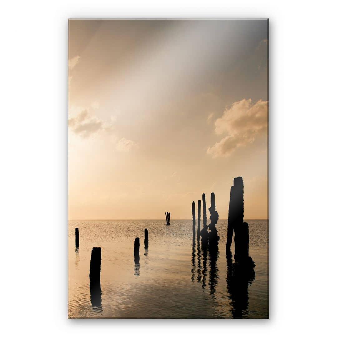Acrylglasbild Posts at Sunset