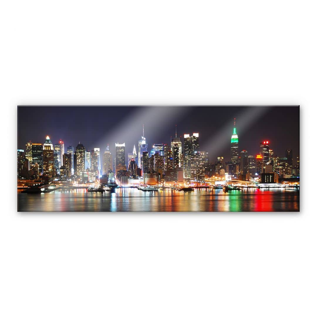 Designart New York City Skyline Panorama 5 Piece Wall: Acrylic Glass New York Skyline