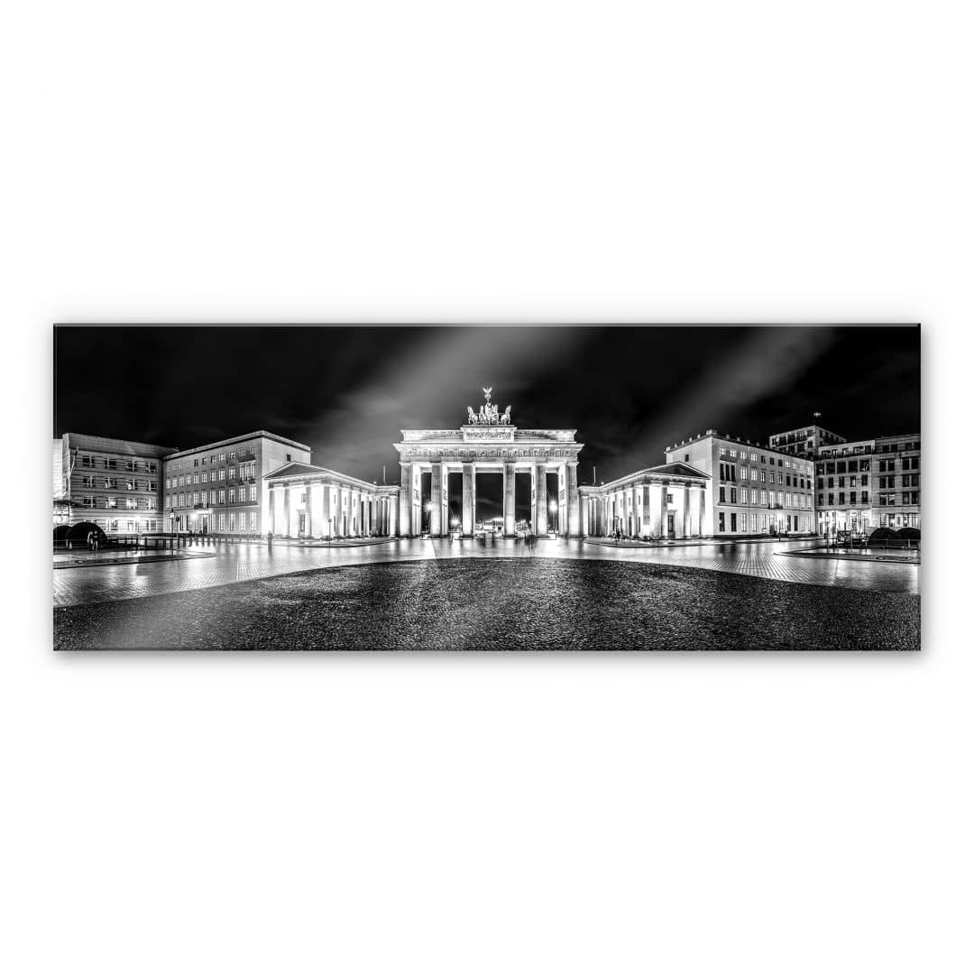acrylglasbild brandenburger tor schwarz wei panorama wall. Black Bedroom Furniture Sets. Home Design Ideas