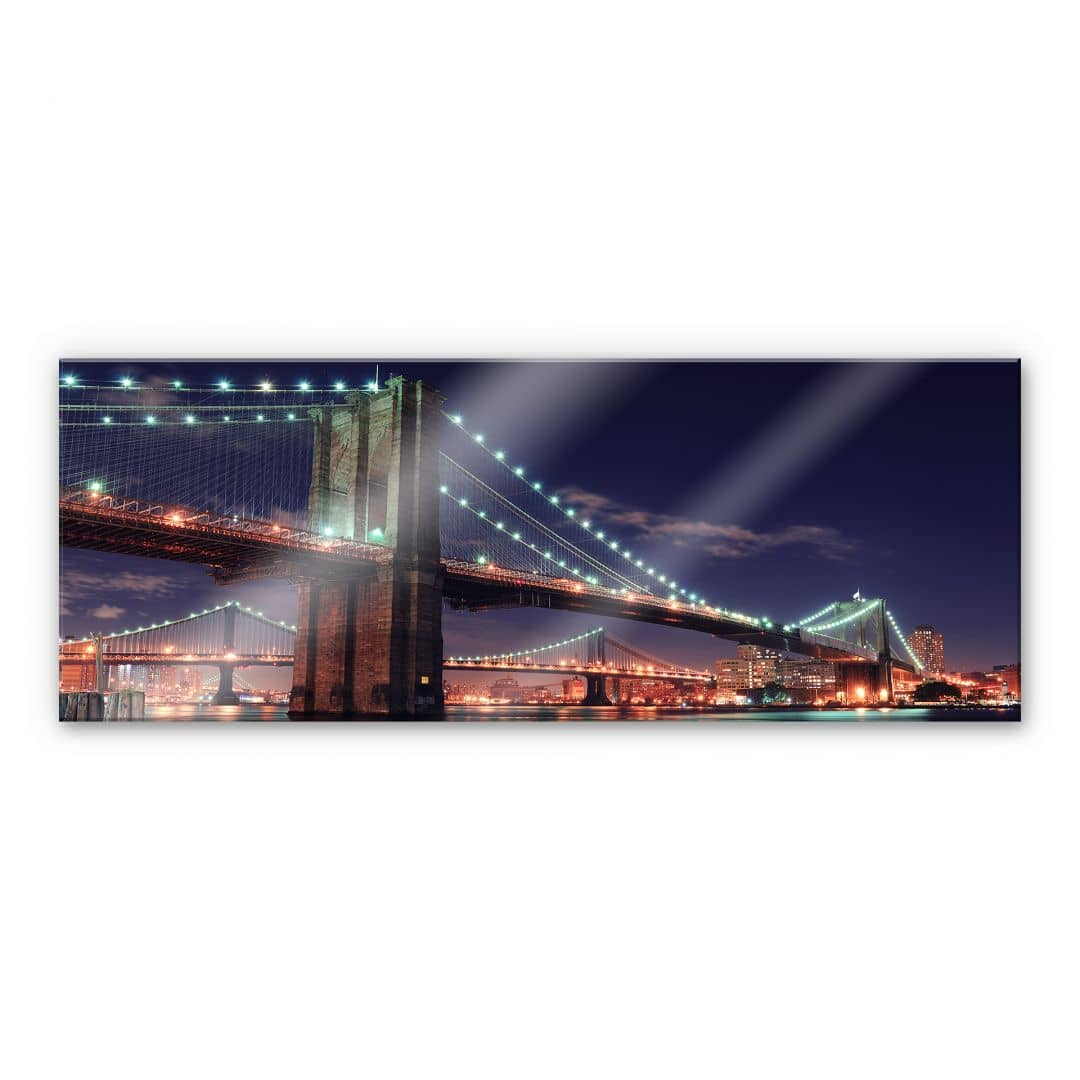 XXL Wandbild Manhattan Bridge at Night 2 - Panorama