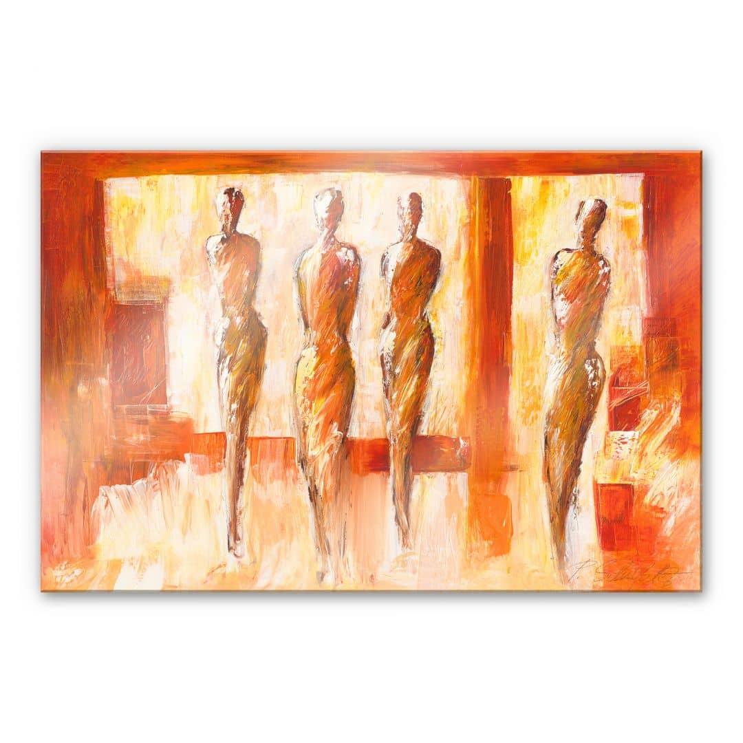 tableau en verre acrylique sch ler quatre figures orange. Black Bedroom Furniture Sets. Home Design Ideas