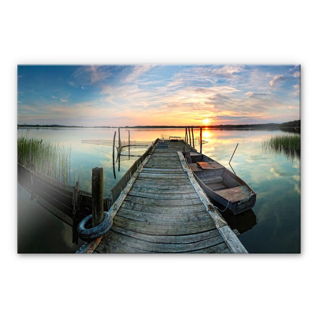 Acrylglasbild Sunset at the lake
