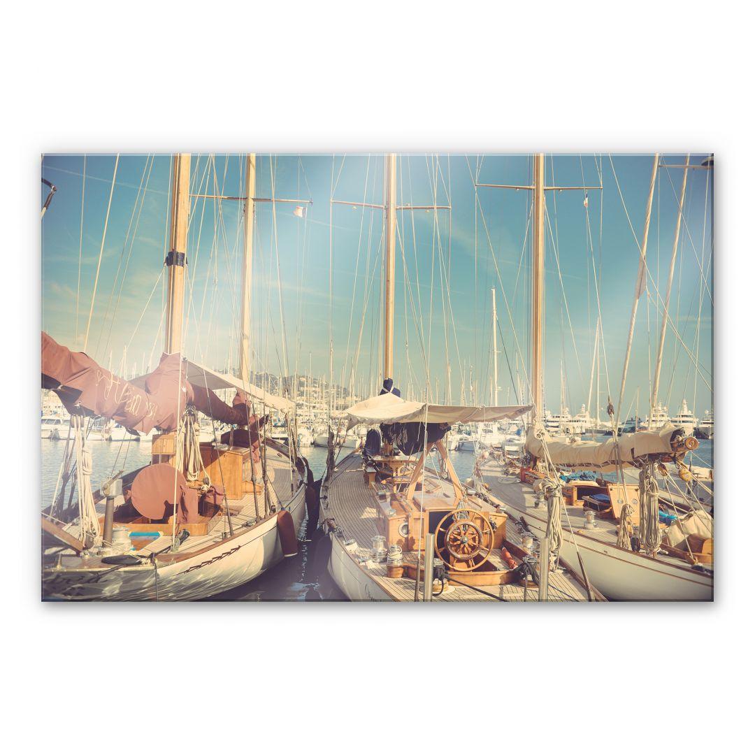tableau en verre acrylique bateaux voile dans le port. Black Bedroom Furniture Sets. Home Design Ideas