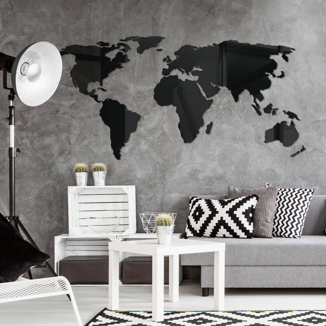 3D Wereldkaart op Acrylglas