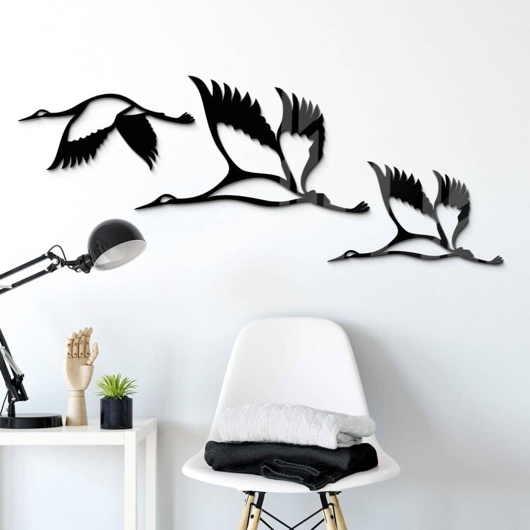 Acryldecoratie Kraanvogels 02