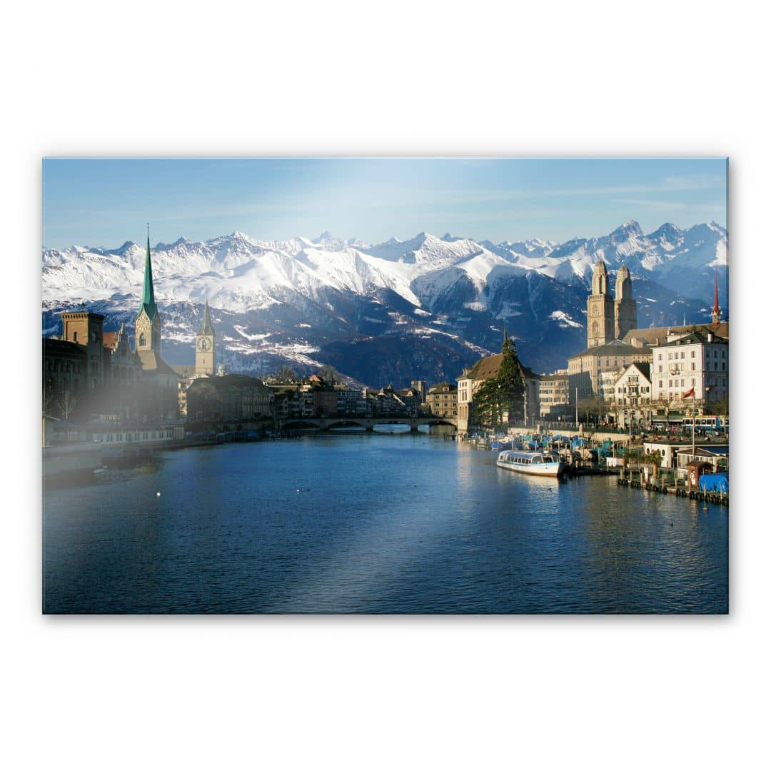 tableau en verre acrylique lac de zurich avec les alpes. Black Bedroom Furniture Sets. Home Design Ideas
