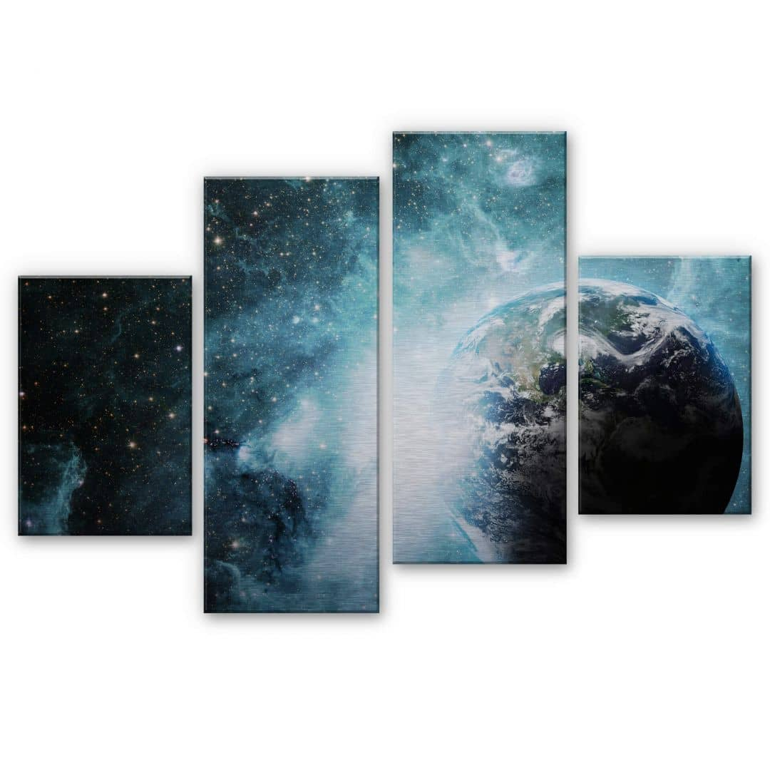 4 teiliges alu dibond set mit silbereffekt in einer fernen galaxie von k l wall art wall. Black Bedroom Furniture Sets. Home Design Ideas