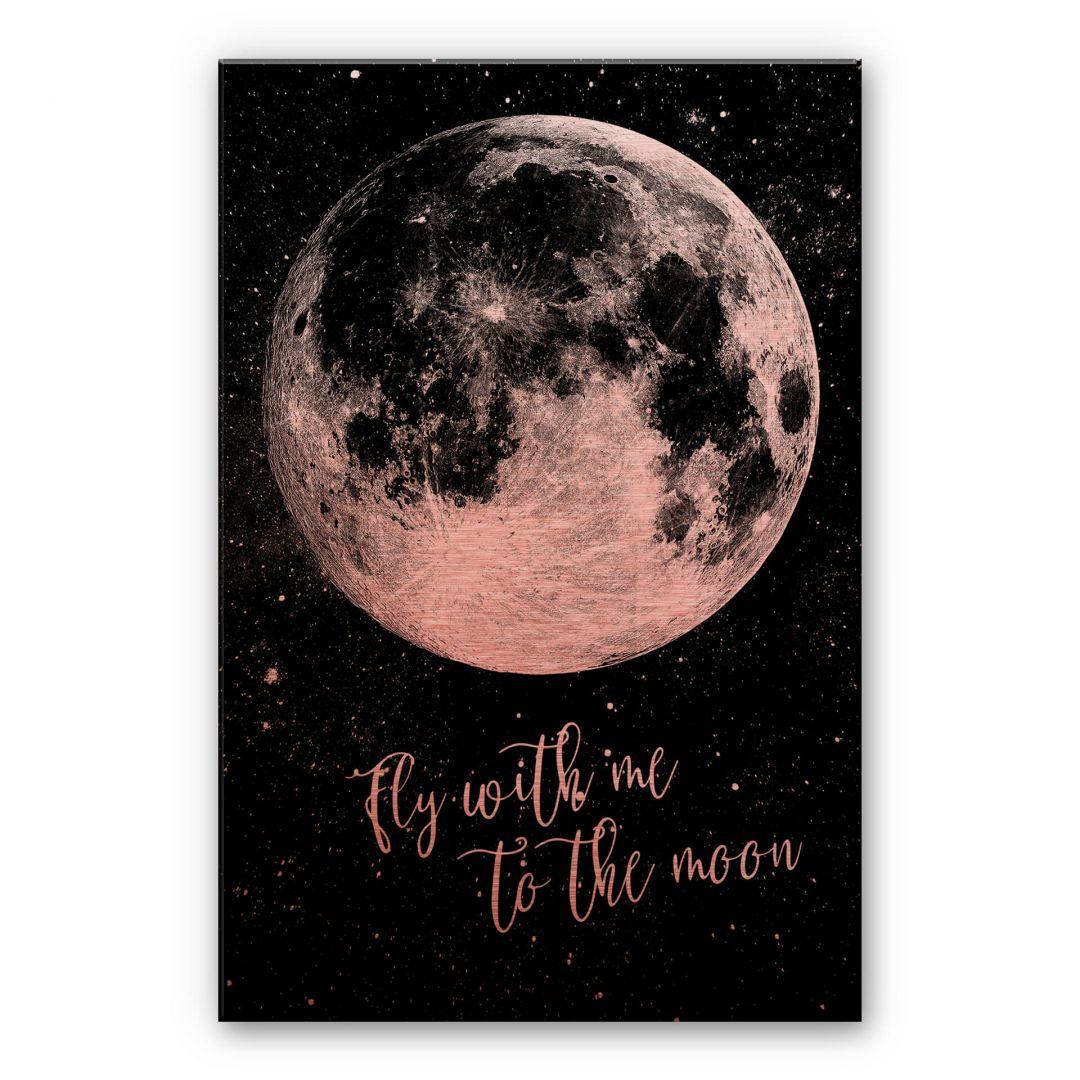 Alu-Dibond-Kupfereffekt - Fly with me to the moon